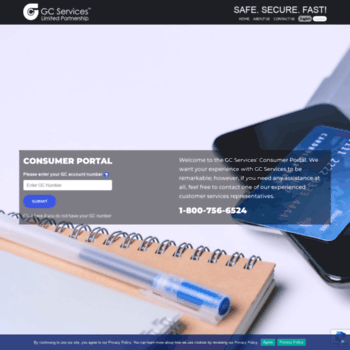 gcpayonline com at WI  Log in - GC Services