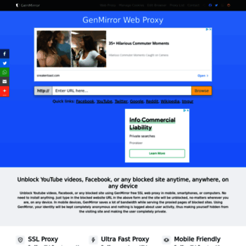 genmirror com at WI  Unblock YouTube Proxy - GenMirror free SSL Web
