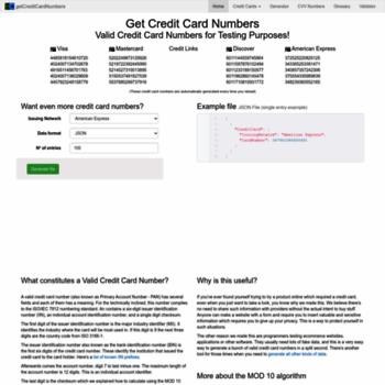 Getcreditcardnumbers.com thumbnail
