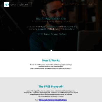 getproxylist com at WI  GetProxyList | Free Proxy API