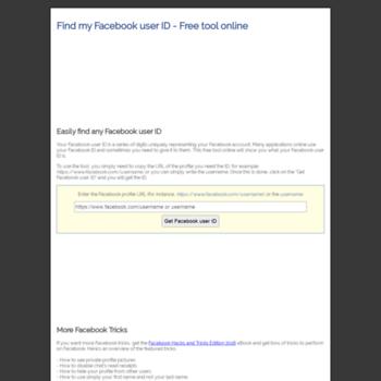 getuserid com at WI  Find my Facebook user ID - Free tool online