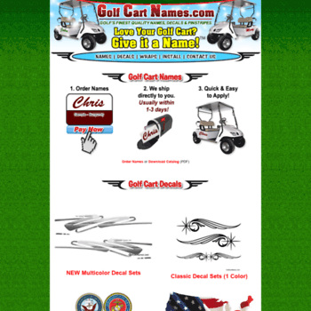 golfcartnames.com at WI. Golf Cart Names, Decals and Wraps by Golf on