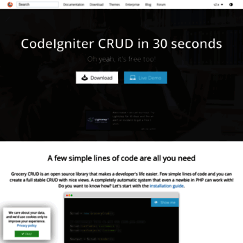 grocerycrud com at WI  Grocery CRUD | Auto PHP Codeigniter CRUD