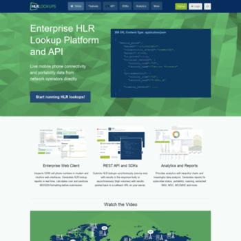 hlr-lookups com at WI  Enterprise HLR Lookup Portal and API
