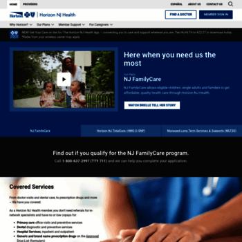 horizonnjhealth com at WI  Home - Horizon NJ Health