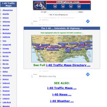 i40highway com at WI  I-40 Interstate 40 Road Maps, Traffic