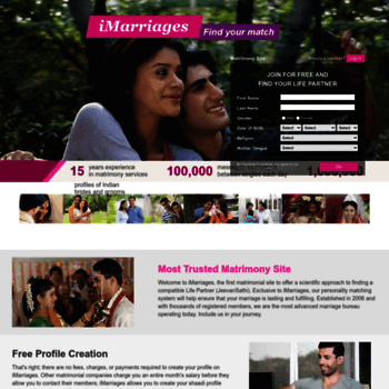 imarriages com at WI  The Best Matrimony, Matrimonial Site