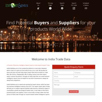 indiatradedata com at WI  India Export Data | India Import Data