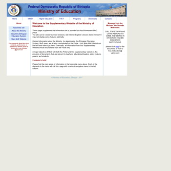 info moe gov et at WI  Ministry of Education Supplementary Website