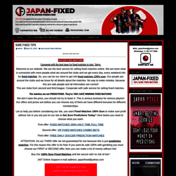 japan-fixed com at WI  BEST FIXED TIPS 100% SURE WIN MATCHES