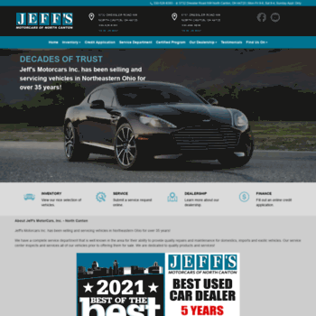 Jeffsmotorcars.com thumbnail. Alexa Rank: 9309347. Jeff's Motorcars of North Canton ...