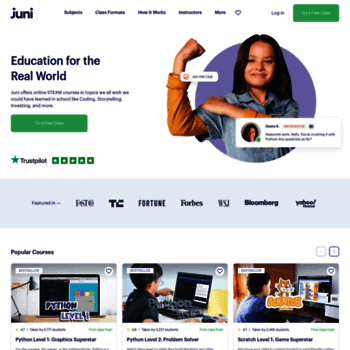 junilearning com at WI  Private Online Coding Classes for