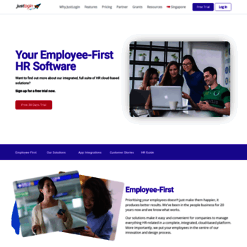 justlogin com at WI  Singapore HR Management Software | HRM system