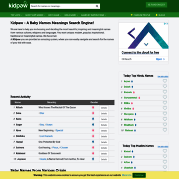 kidpaw com at WI  Baby Names Meanings, Muslim, Arabic, Christian