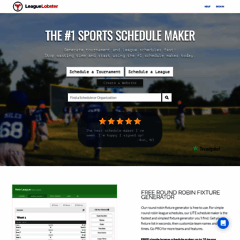 leaguelobster com at WI  League & Tournament Scheduler | LeagueLobster