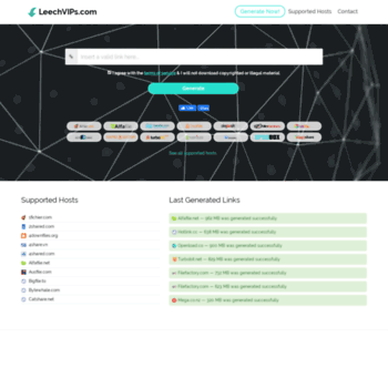 leechvips com at WI  LeechVIPs com — Premium Link Generator 2019