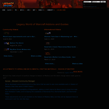 legacy-wow com at WI  Legacy WoW - Legacy News - Addons and