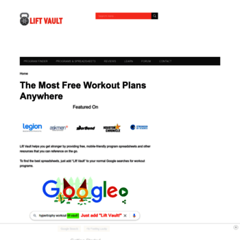 liftvault com at WI  Free Workout Plan Spreadsheets - The