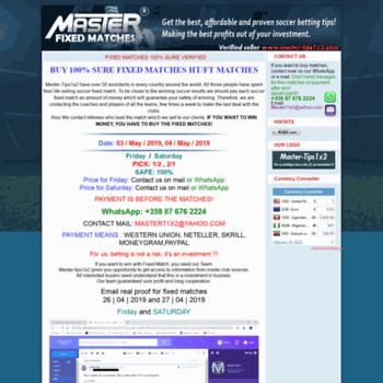 master-tips1x2 com at WI  Master-tips1x2 com: Fixed Matches, Vip