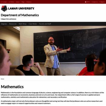 Math.lamar.edu thumbnail
