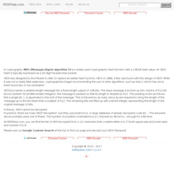 md5pass com at WI  Decrypt md5 Password