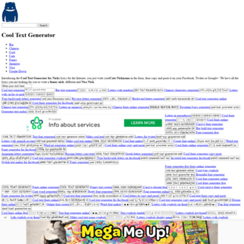 megacooltext com at WI  Mega Cool Text (cool text generator)