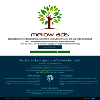 mellowads com at WI  Mellow Ads: Simple, bitcoin banner and