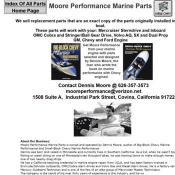 mooreperformance info at WI  MOORE PERFORMANCE BOAT ENGINE PARTS