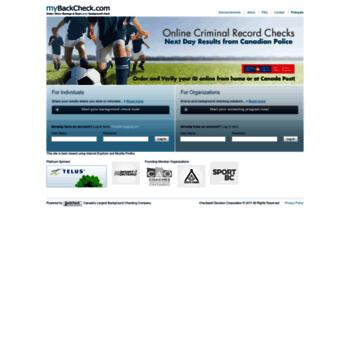 mybackcheck com at WI  Online Criminal Record Check