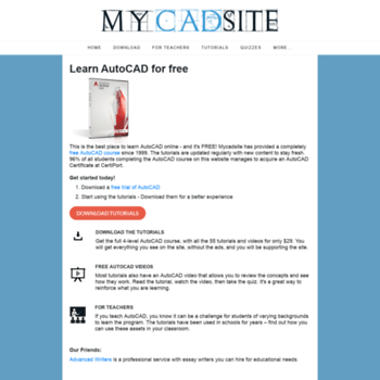 Mycadsite Com At Wi Learn Autocad Free Online Tutorials