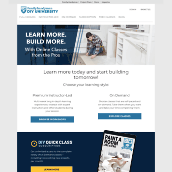 mydiyuniversity com at WI  Family Handyman DIY University