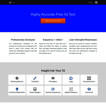 myiqtested com at WI  Free IQ Test - Accurate, Free Instant Results