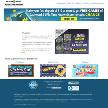 mymibingo com at WI  Michigan Lottery Second Chance Games