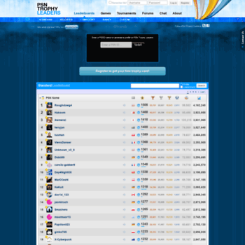 mypsntrophies com at WI  PSN Trophy Leaders | Main Leaderboard