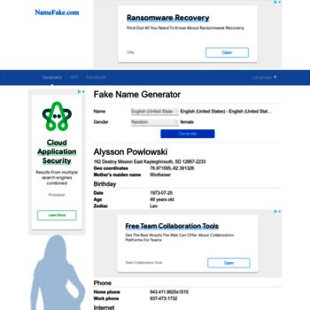 namefake com at WI  Fake Name Generator