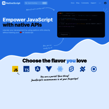 nativescript org at WI  Native mobile apps with Angular, Vue