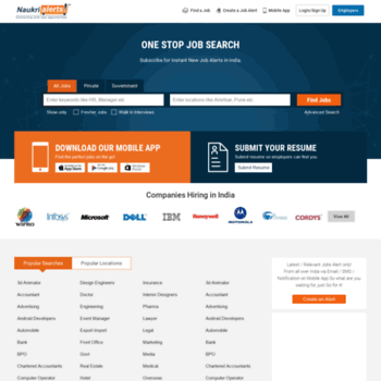 naukrialerts com at WI  NaukriAlerts com - Jobs in India