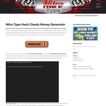 nitrotypecheats com at WI  Nitro Type Hack Cheats Money Free