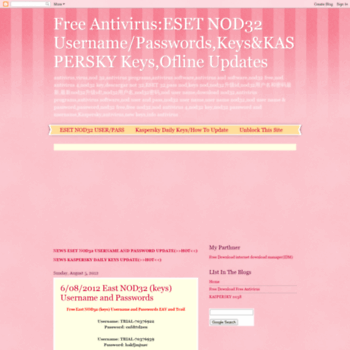 nod32 username passwords