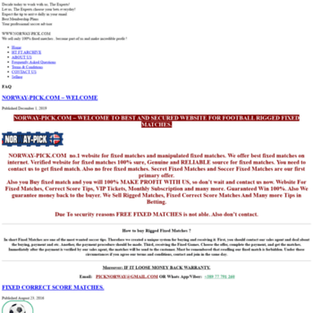 norway-pick com at WI  Fixed Matches, Free Fixed Matches