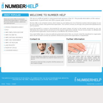 Numberhelp.co.uk thumbnail