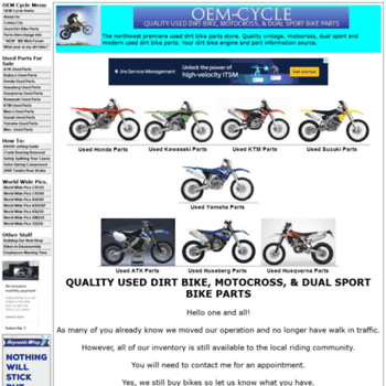 oem-cycle com at WI  OEM-CYCLE Used Dirt Bike Parts-Vintage