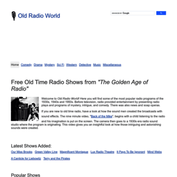 oldradioworld com at WI  Free Old Time Radio MP3 Downloads from