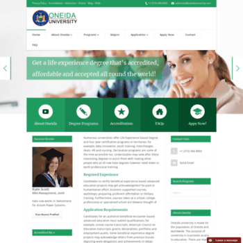 oneidauniversity com at WI  Online Accredited Life