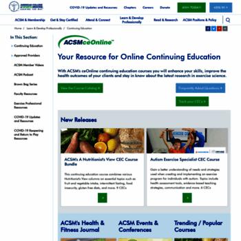 Onlinelearning-acsm.org thumbnail