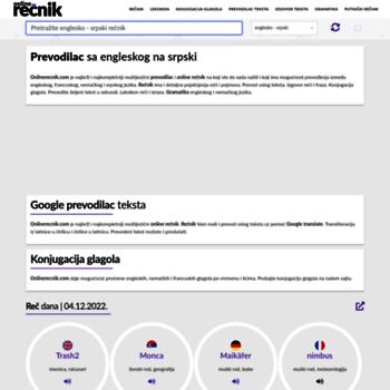 Onlinerecnikcom At Wi Rečnik Prevodilac Engleski Srpski