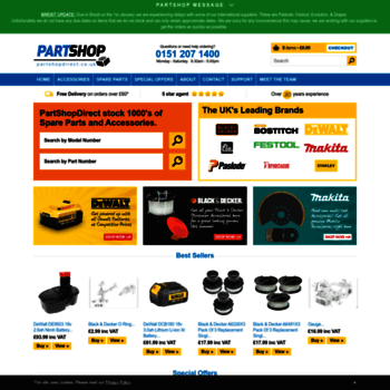 partshopdirect co uk at WI  Power Tool Spares & Parts from
