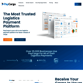 paycargo com at WI  PayCargo - Making online freight