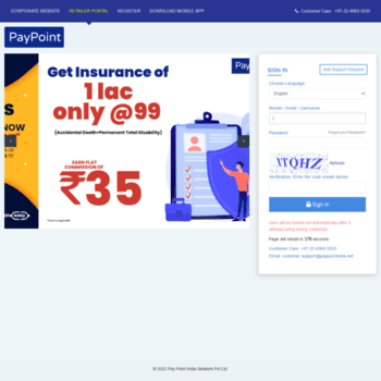 paypointindia co in at WI  Login - Pay Point India