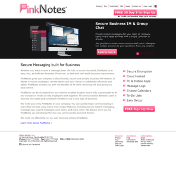 pinknotes com at WI  Secure Business Instant Messaging